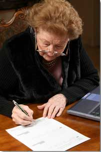 lady signing a document