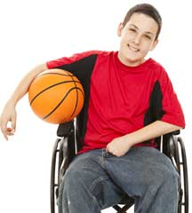 teenager in wheelchair with basketball