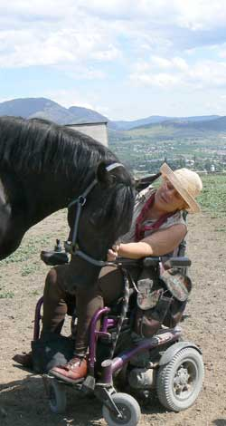 woman in wheelchair with horse