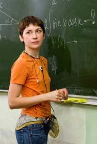 teenage girl at blackboard