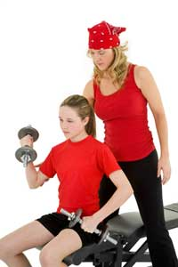 young girl lifting exercising arms